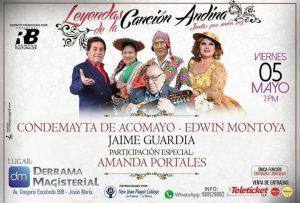 Leyendas de la Música Andina en nuestro Auditorio: Viernes 5 de mayo
