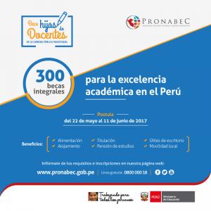 Culmina la convocatoria para el programa de becas para hijos de docentes en PRONABEC