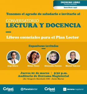 Lectura y Docencia: Conversatorio en Librería Crisol (local de Derrama Magisterial)